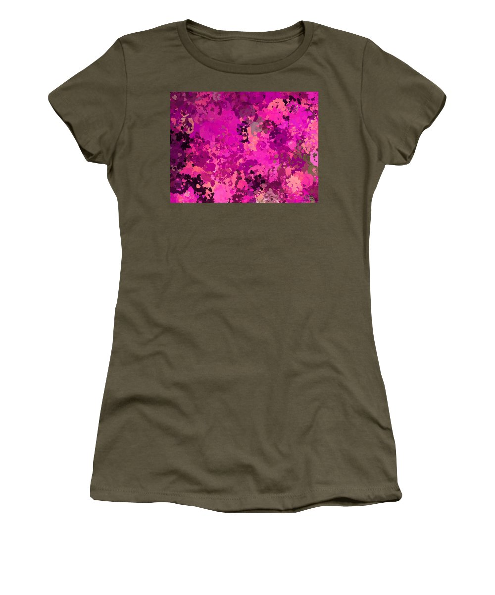 Pink Women's T-Shirt featuring the painting I Love Pink by Bruce Nutting