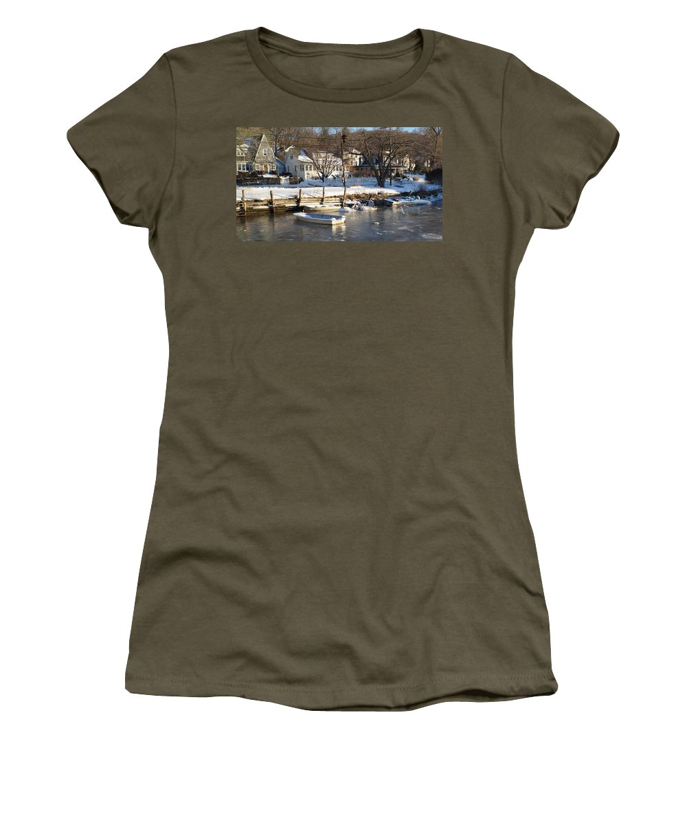 Ice Women's T-Shirt featuring the photograph Icebound Harbor by John Wall