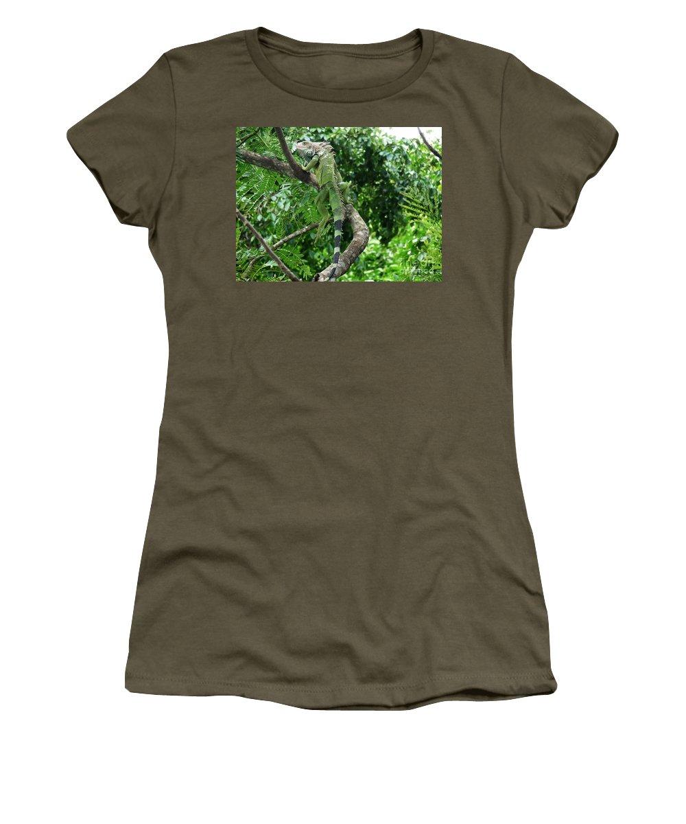 Iguana Women's T-Shirt featuring the photograph Iguana In A Tree by DejaVu Designs