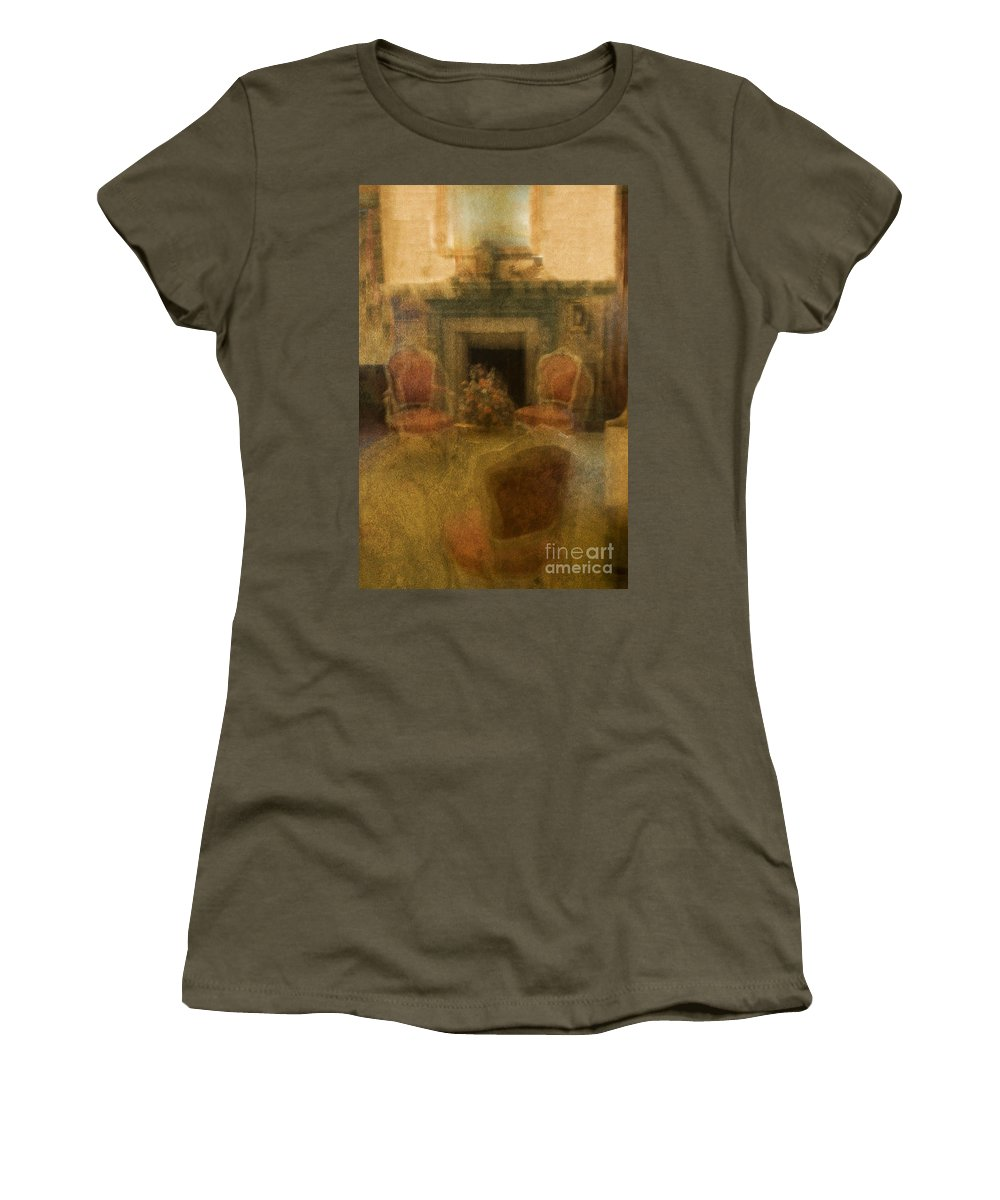 Living Room; Sitting Room; Formal; Chair; Victorian; Fireplace; Seating; Rug; Interior; Mantle; Ornate; Armchair; Curtains; Drapes; Blurred; Blurry; Defocused; Indoors; Room; Classic; Furniture; Nobody; Empty; Antiques Women's T-Shirt (Athletic Fit) featuring the photograph Impressions Of A Good Life by Margie Hurwich