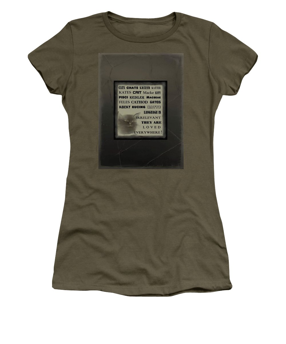 Diane Strain Women's T-Shirt featuring the mixed media In Any Language We Still Love Cats - Poster No. 1 by Diane Strain