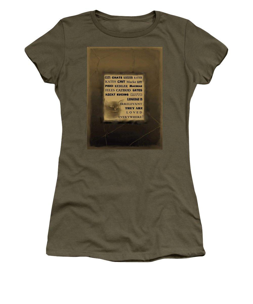 Diane Strain Women's T-Shirt featuring the painting In Any Language We Still Love Cats - Poster No. 2 by Diane Strain