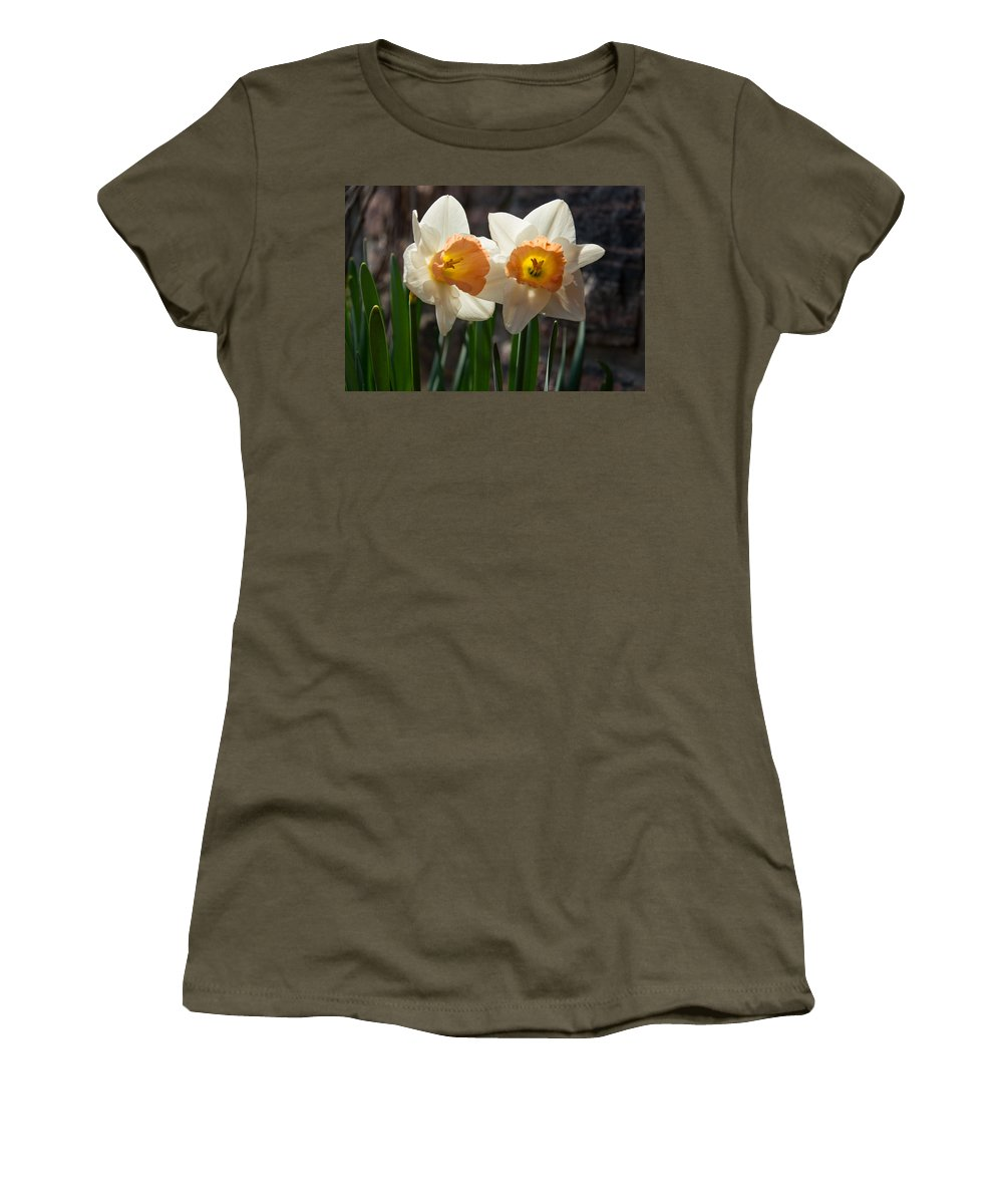 Couple Women's T-Shirt featuring the photograph In Conversation - A Couple Of Daffodils Huddled Together by Georgia Mizuleva