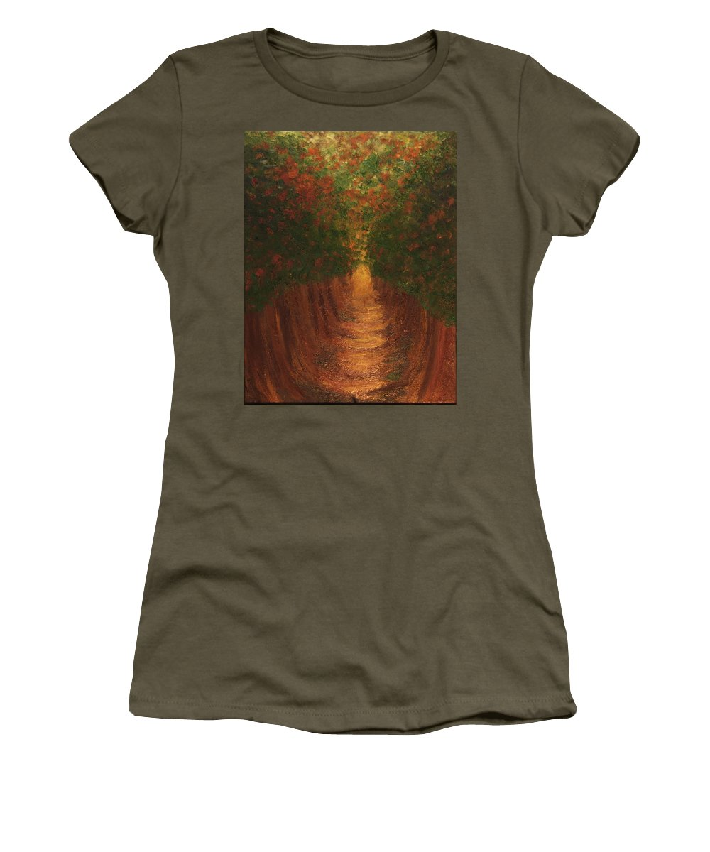 Trees Women's T-Shirt featuring the painting In The Lane by Laurette Escobar