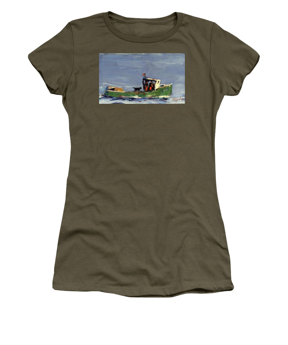 Lobster Boat Women's T-Shirt featuring the painting In Tow by Molly Poole