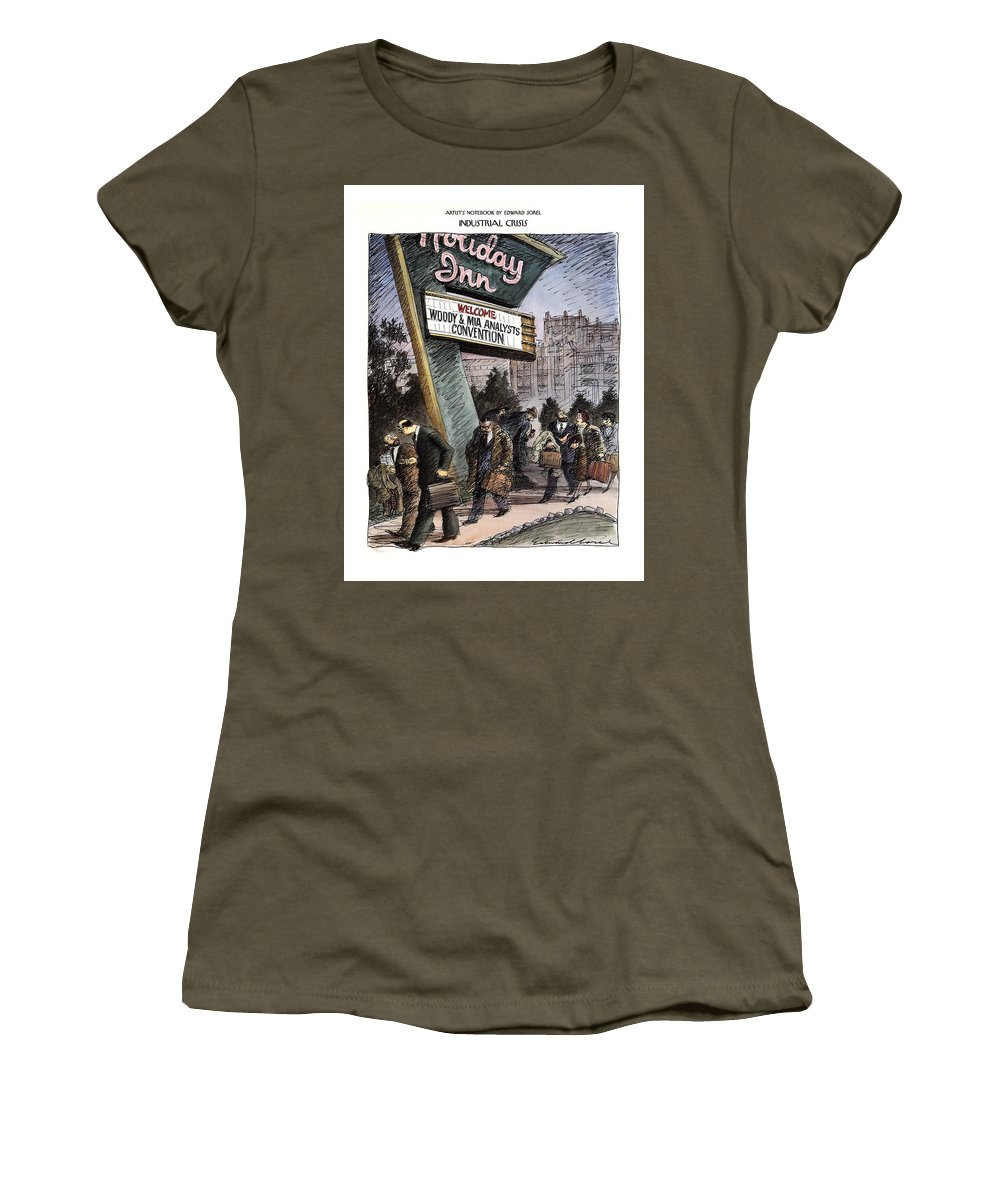 Industrial Crisis (long Line Of Distressed-looking Professional People Talking And Walking Past A Holiday Inn Sign Which Reads ) Psychology Women's T-Shirt featuring the drawing Industrial Crisis by Edward Sorel