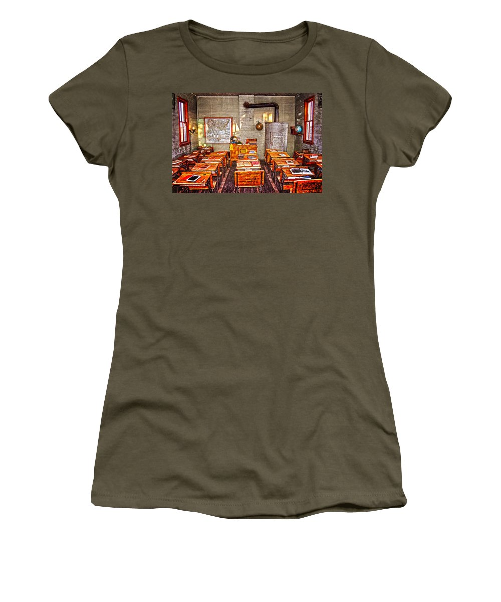 Desks Women's T-Shirt featuring the photograph Inkwells And Textbooks by Judy Hall-Folde
