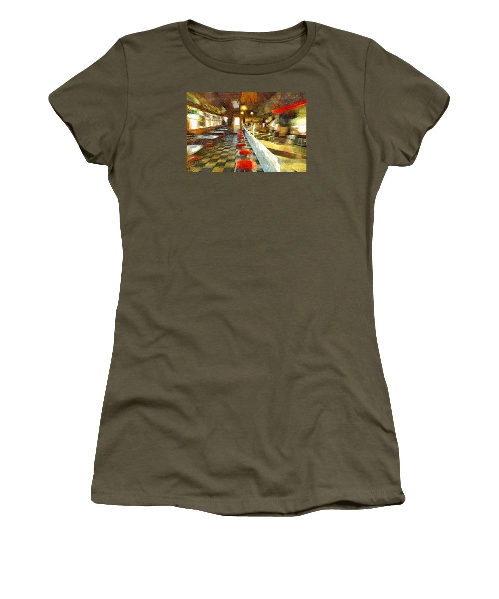 Interior Women's T-Shirt featuring the painting Inside The Cafe by Rachel Niedermayer