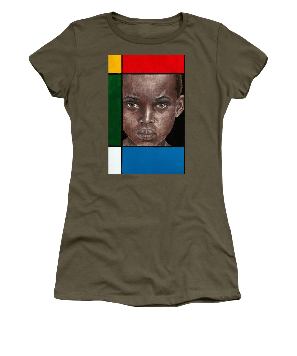 African American Artwork Women's T-Shirt (Athletic Fit) featuring the mixed media Intense by Edith Peterson-Watson