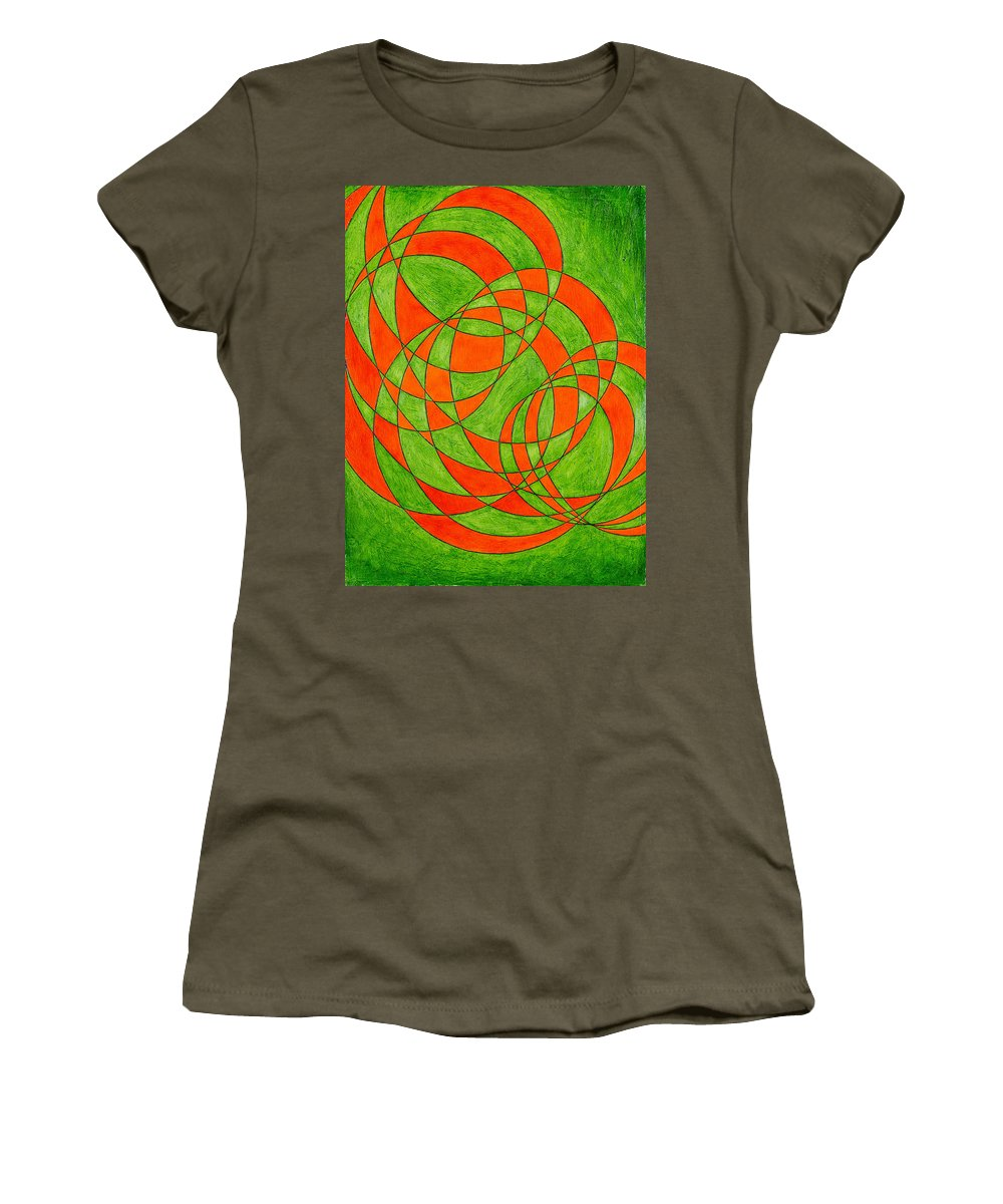 Abstract Oil Painting Women's T-Shirt (Athletic Fit) featuring the painting Intersection, No. 1 by Mark Lewis