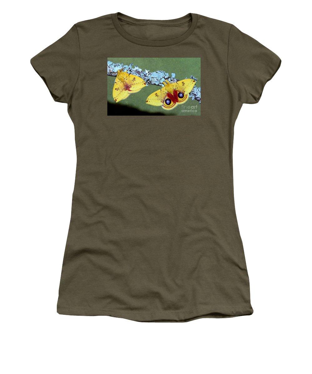Animal Women's T-Shirt featuring the photograph Io Moth Automeris Io Adult Males by Millard H. Sharp