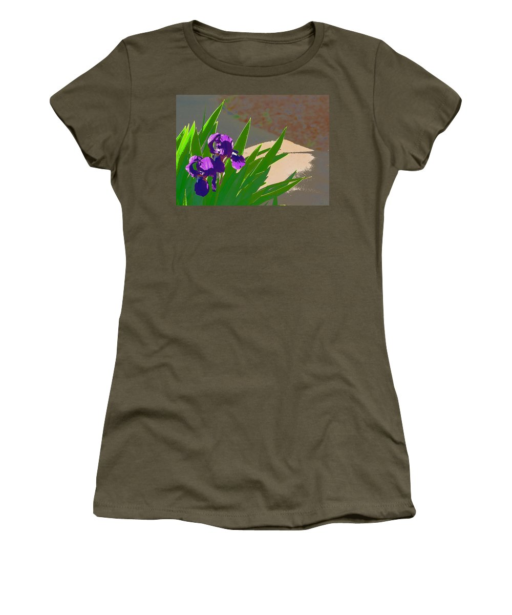 Floral Women's T-Shirt (Athletic Fit) featuring the photograph Iris 57 by Pamela Cooper