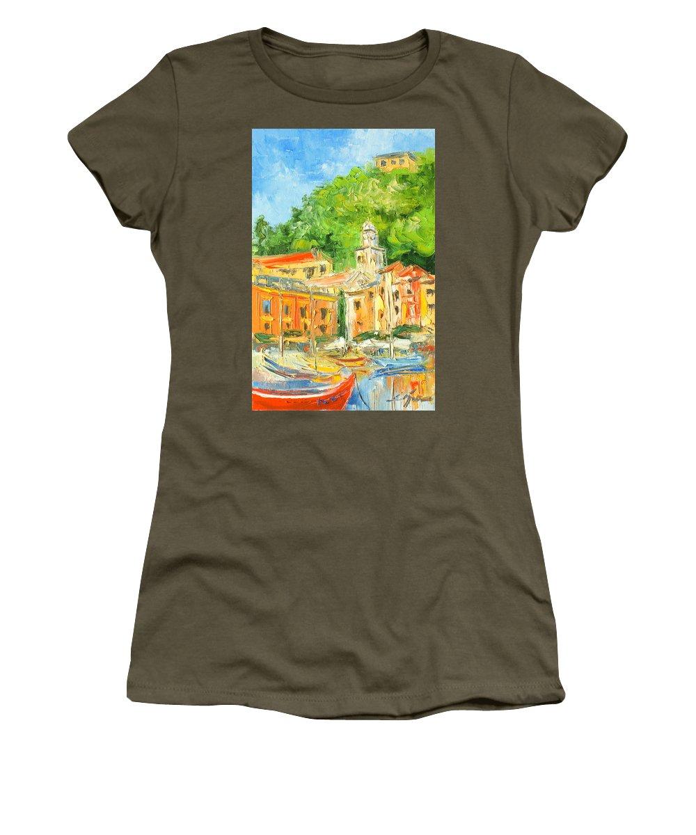 Portofino Women's T-Shirt featuring the painting Italy - Portofino by Luke Karcz