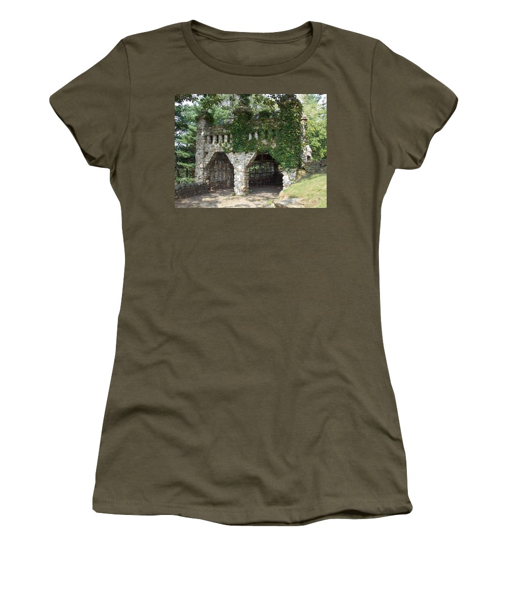 Stone Work Women's T-Shirt featuring the photograph Ivy Covered Stone Wall by Catherine Gagne
