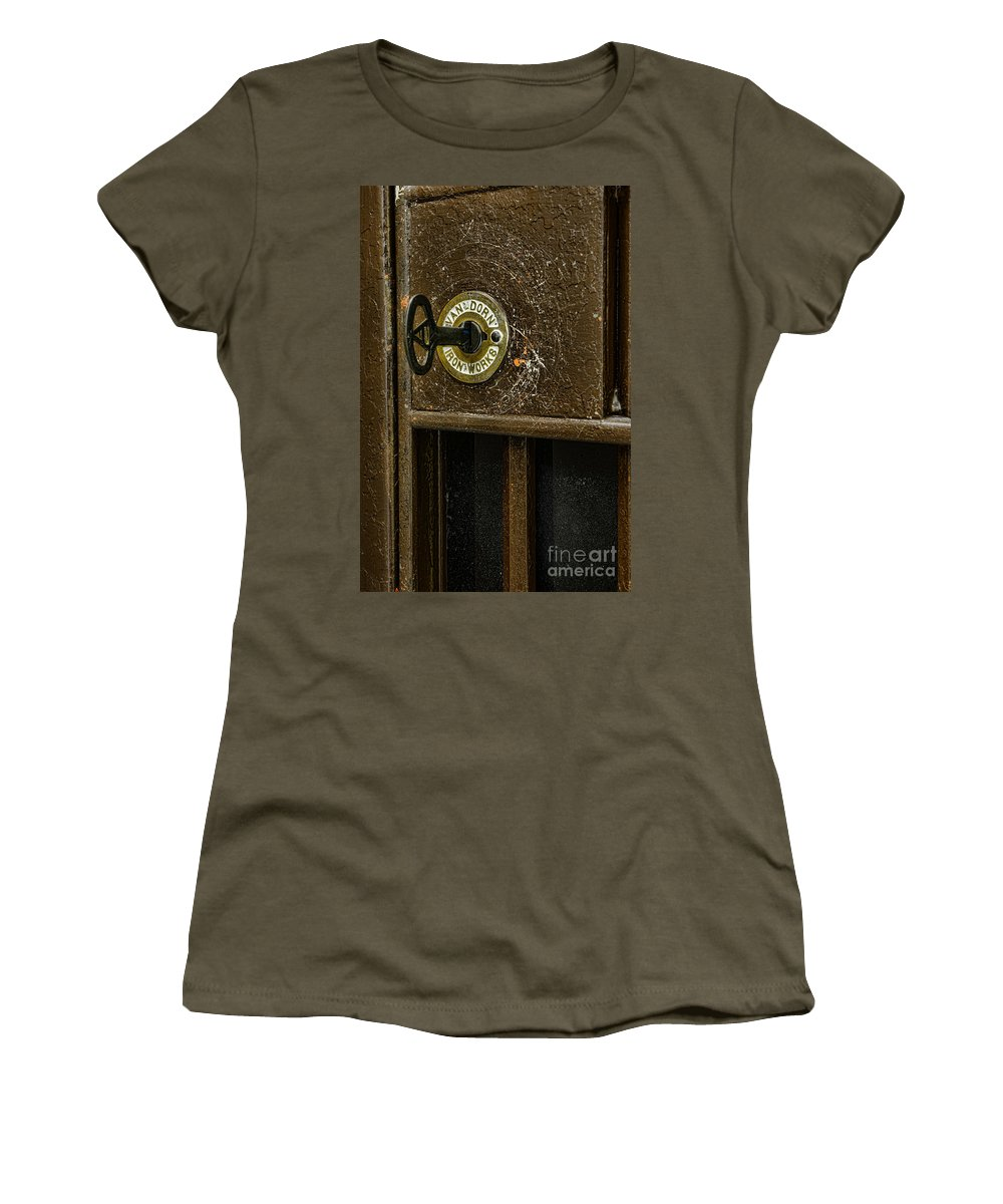 Paul Ward Women's T-Shirt featuring the photograph Jail Cell Door Lock And Key Close Up by Paul Ward