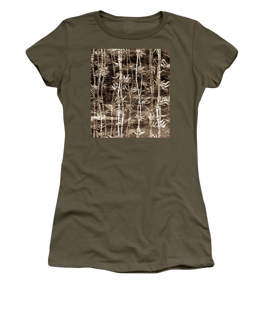 Bamboo Women's T-Shirt featuring the mixed media Japanese Bamboo Sepia Grunge by Georgiana Romanovna