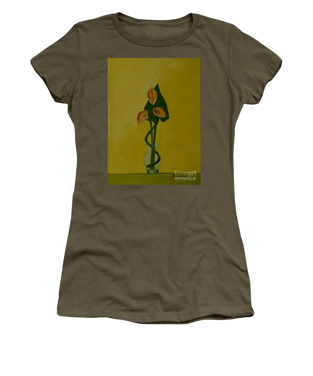 Japan Women's T-Shirt (Athletic Fit) featuring the painting Japanese Ikebana Arrangement by Anthony Dunphy