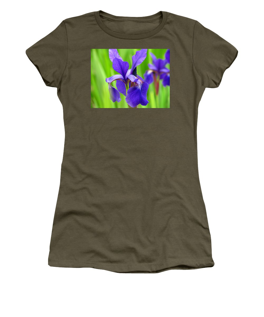 Beautiful Japanese Iris Women's T-Shirt (Athletic Fit) featuring the photograph Japanese Iris By Kim Mobley by Kim Mobley