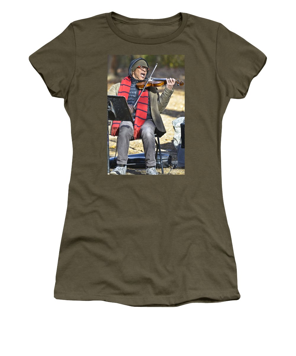 Central Park Women's T-Shirt featuring the photograph Jazz In Central Park 2 by David Berg