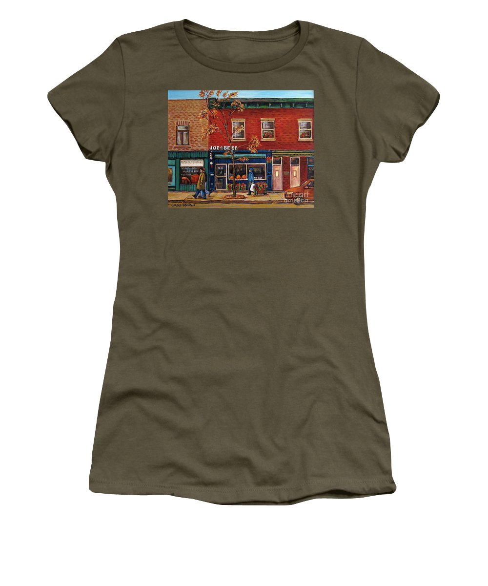 Montreal Women's T-Shirt featuring the painting Joe Beef Restaurant Montreal by Carole Spandau