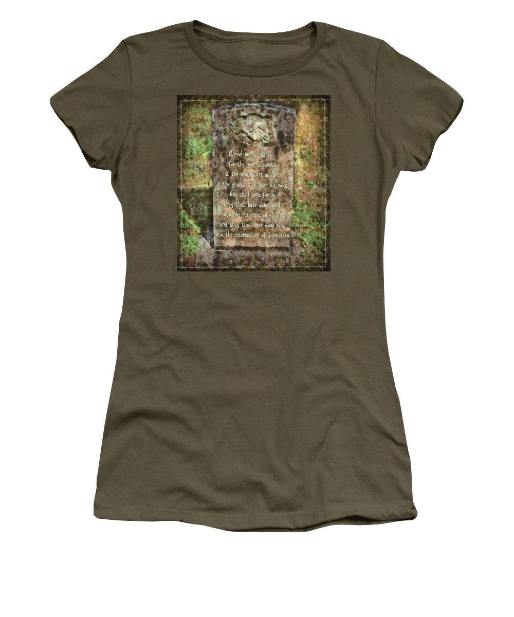 Jesus Women's T-Shirt featuring the digital art John 5 28 29 by Michelle Greene Wheeler