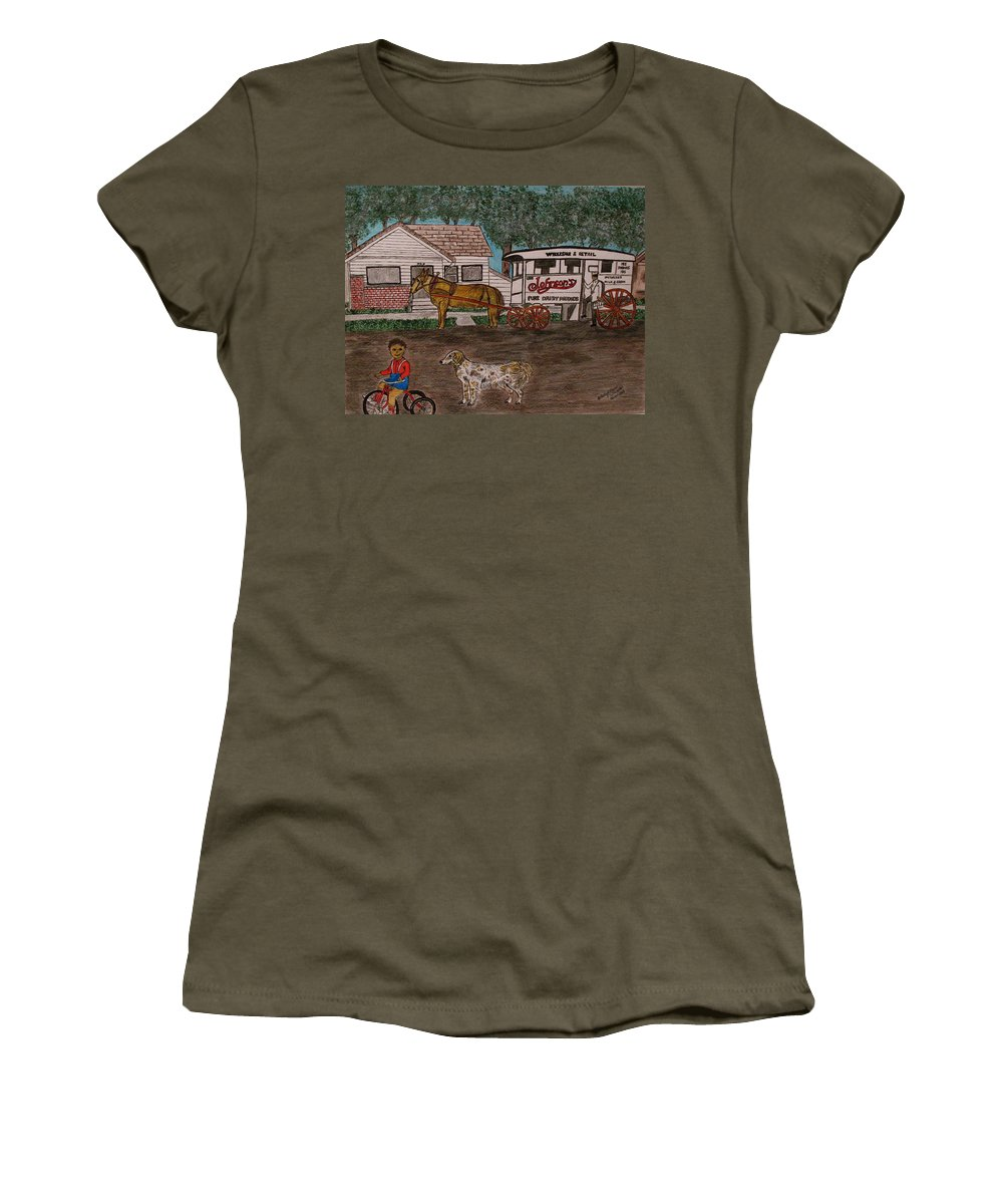 Johnson Creamery Women's T-Shirt featuring the painting Johnsons Milk Wagon Pulled By A Horse by Kathy Marrs Chandler