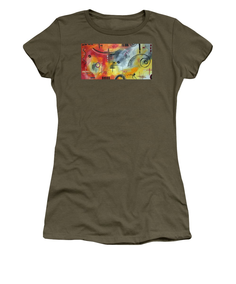 Wall Women's T-Shirt (Athletic Fit) featuring the painting Joy And Happiness By Madart by Megan Duncanson