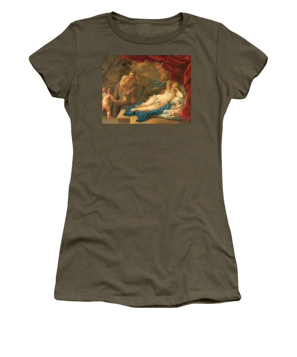 Luca Giordano Women's T-Shirt featuring the painting Jupiter And Antiope by Luca Giordano