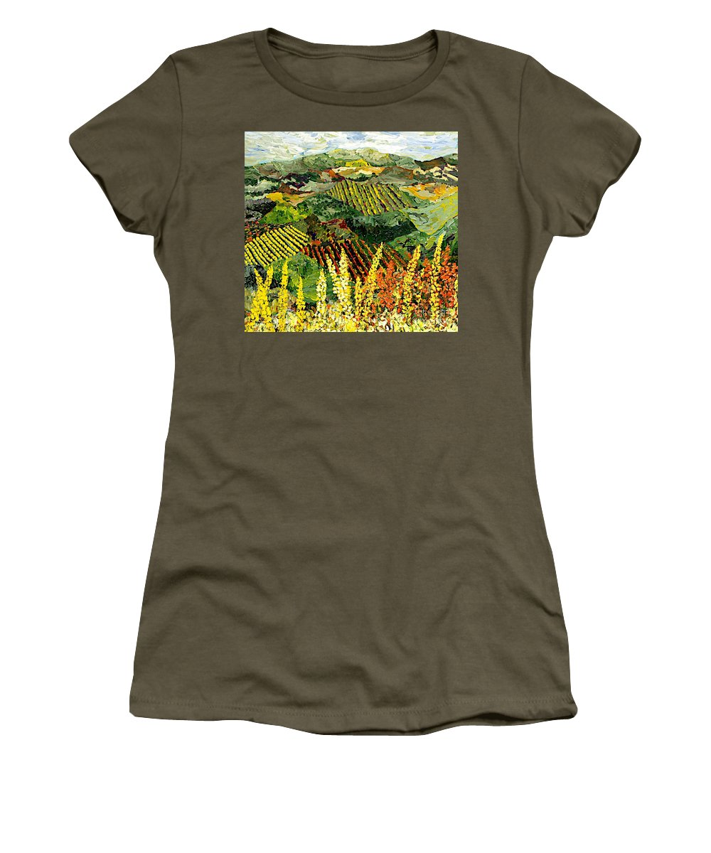 Landscape Women's T-Shirt (Athletic Fit) featuring the painting Just A Little Valley by Allan P Friedlander