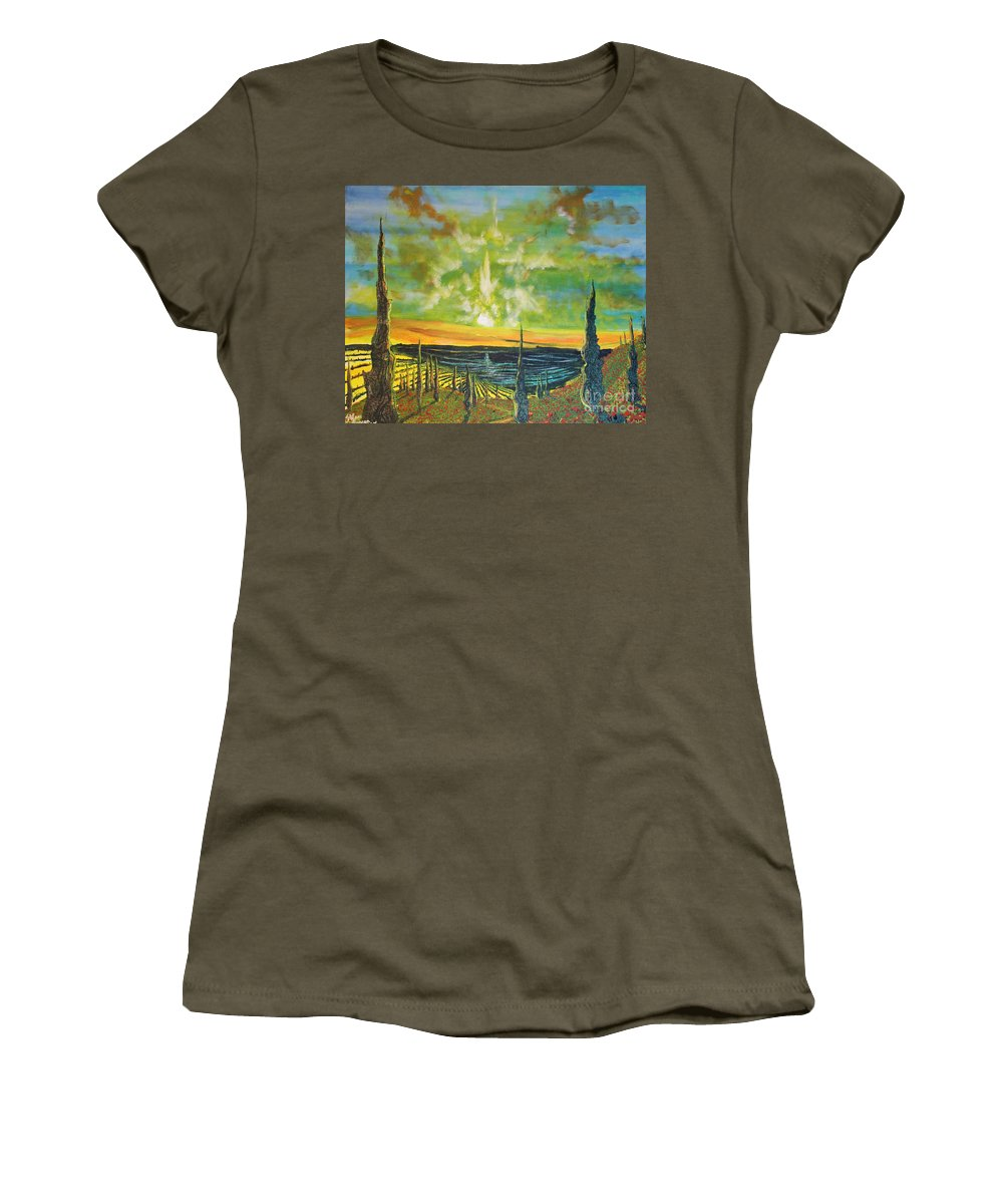 Landscape Women's T-Shirt featuring the painting Just Beyond The Sea by Stefan Duncan