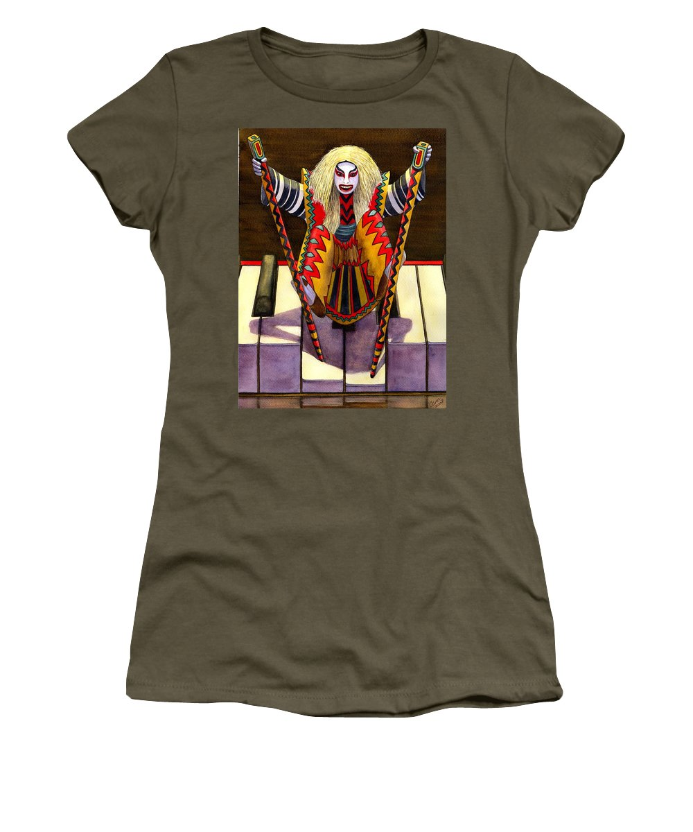 Kabuki Women's T-Shirt (Athletic Fit) featuring the painting Kabuki Chopsticks 1 by Catherine G McElroy