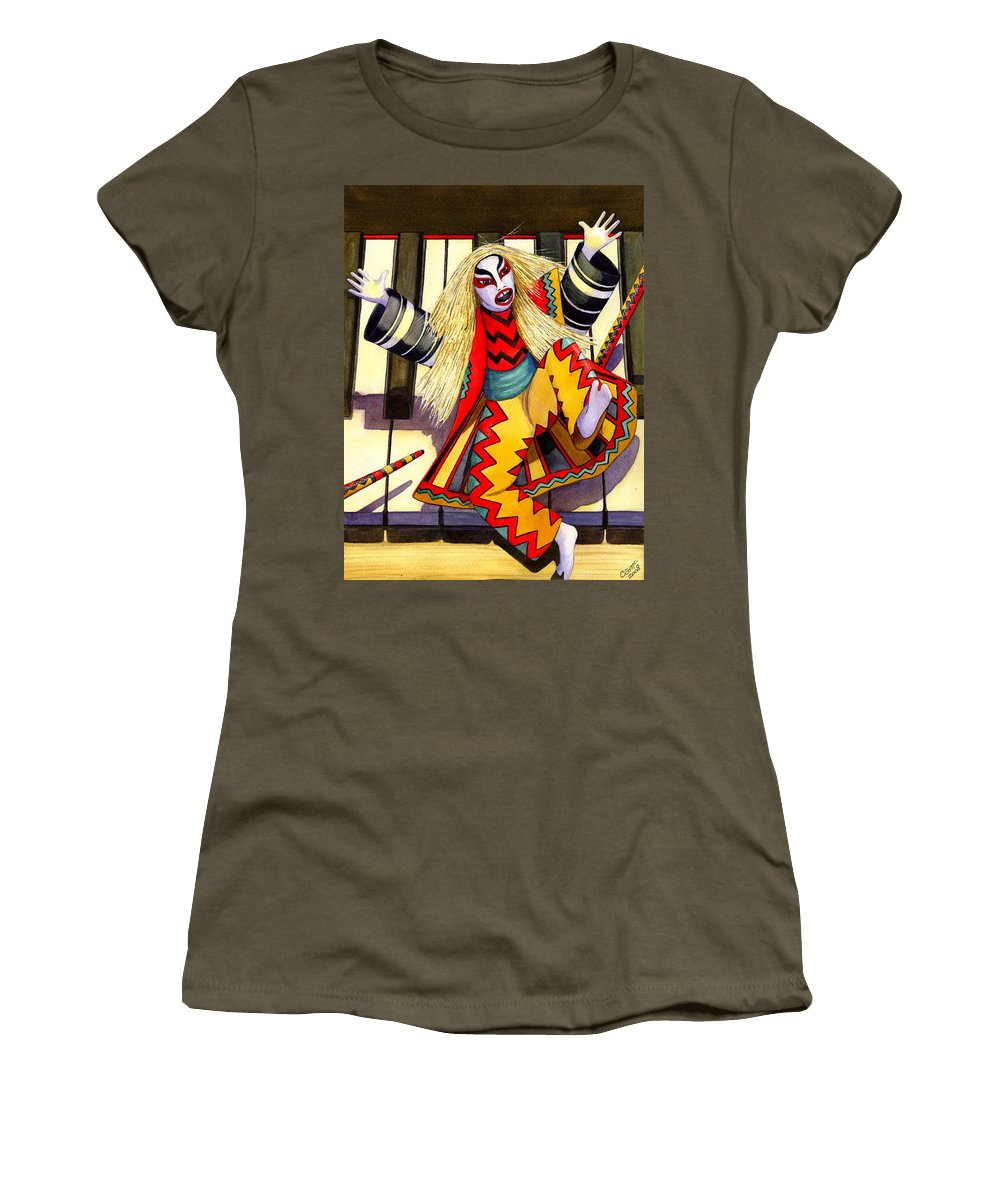 Kabuki Women's T-Shirt (Athletic Fit) featuring the painting Kabuki Chopsticks 3 by Catherine G McElroy