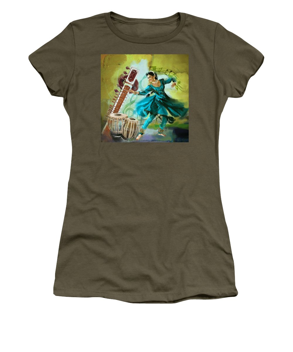 Dancer Women's T-Shirt featuring the painting Kathak Dancer 4 by Catf