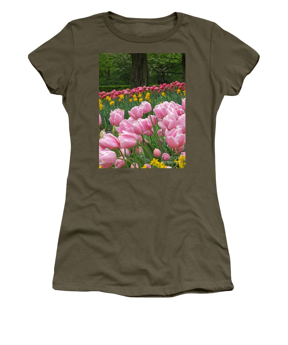 Keukenhof Gardens Women's T-Shirt featuring the photograph Keukenhof Gardens 17 by Mike Nellums