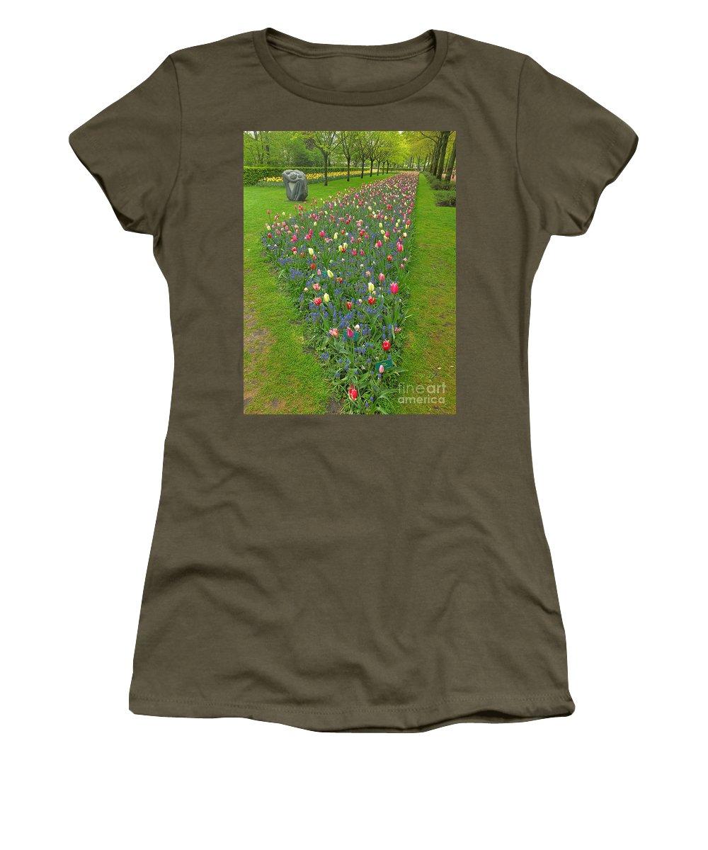 Keukenhof Gardens Women's T-Shirt featuring the photograph Keukenhof Gardens 26 by Mike Nellums