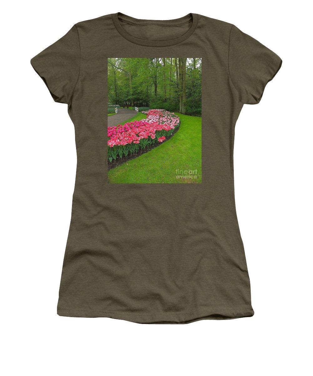 Keukenhof Gardens Women's T-Shirt featuring the photograph Keukenhof Gardens 51 by Mike Nellums