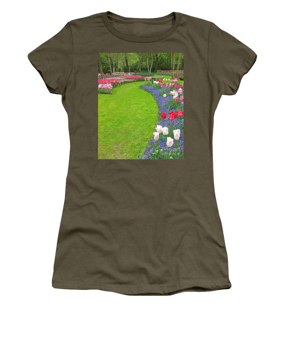 Keukenhof Gardens Women's T-Shirt featuring the photograph Keukenhof Gardens 54 by Mike Nellums