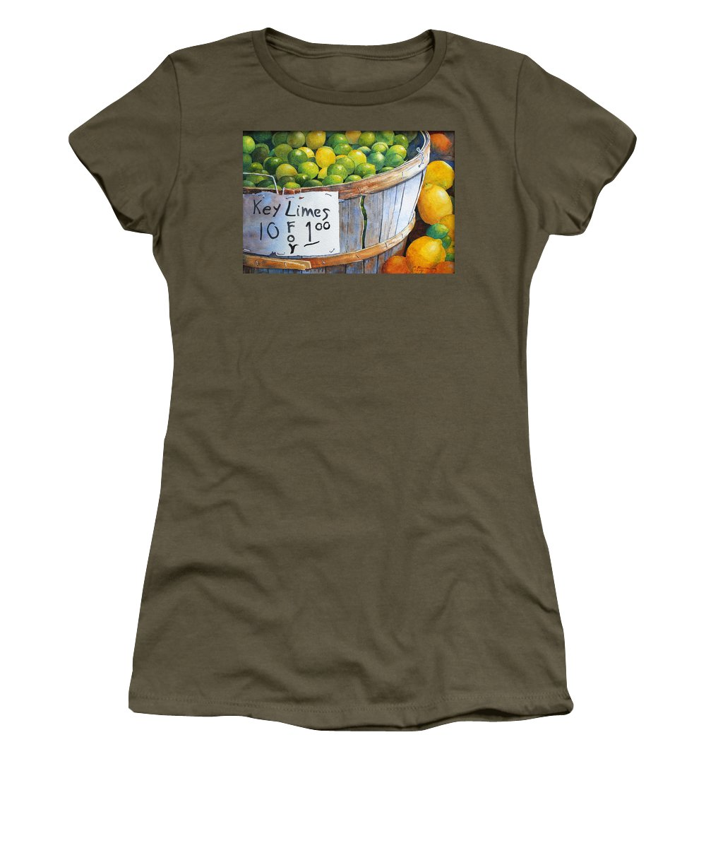 Key Lime Women's T-Shirt featuring the painting Key Limes Ten For A Dollar by Roger Rockefeller