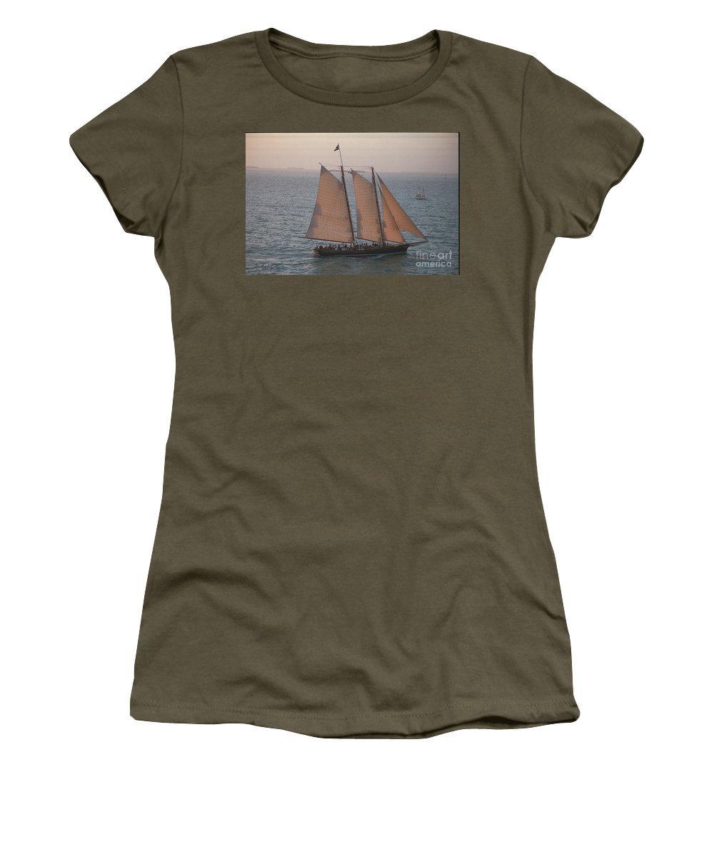 Key West Women's T-Shirt (Athletic Fit) featuring the photograph Sail Boat - Key West Florida by S Mykel Photography
