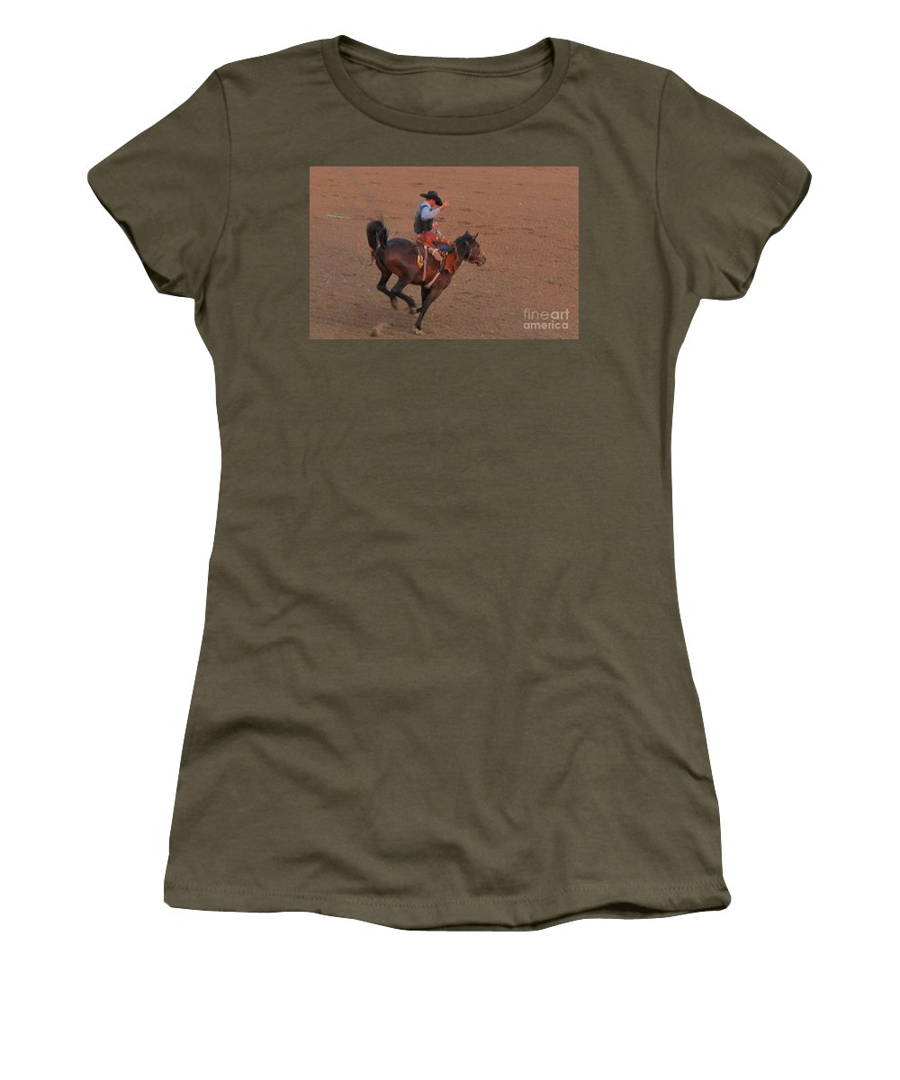 Kickin Bronc Women's T-Shirt (Athletic Fit) featuring the photograph Kickin Bronc by John Malone