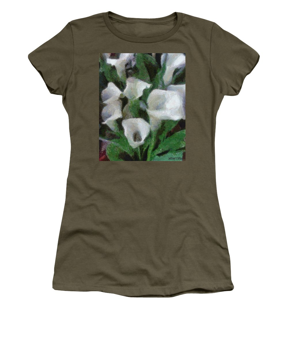 Bloom Women's T-Shirt featuring the painting Kim's Flowers by Jeffrey Kolker