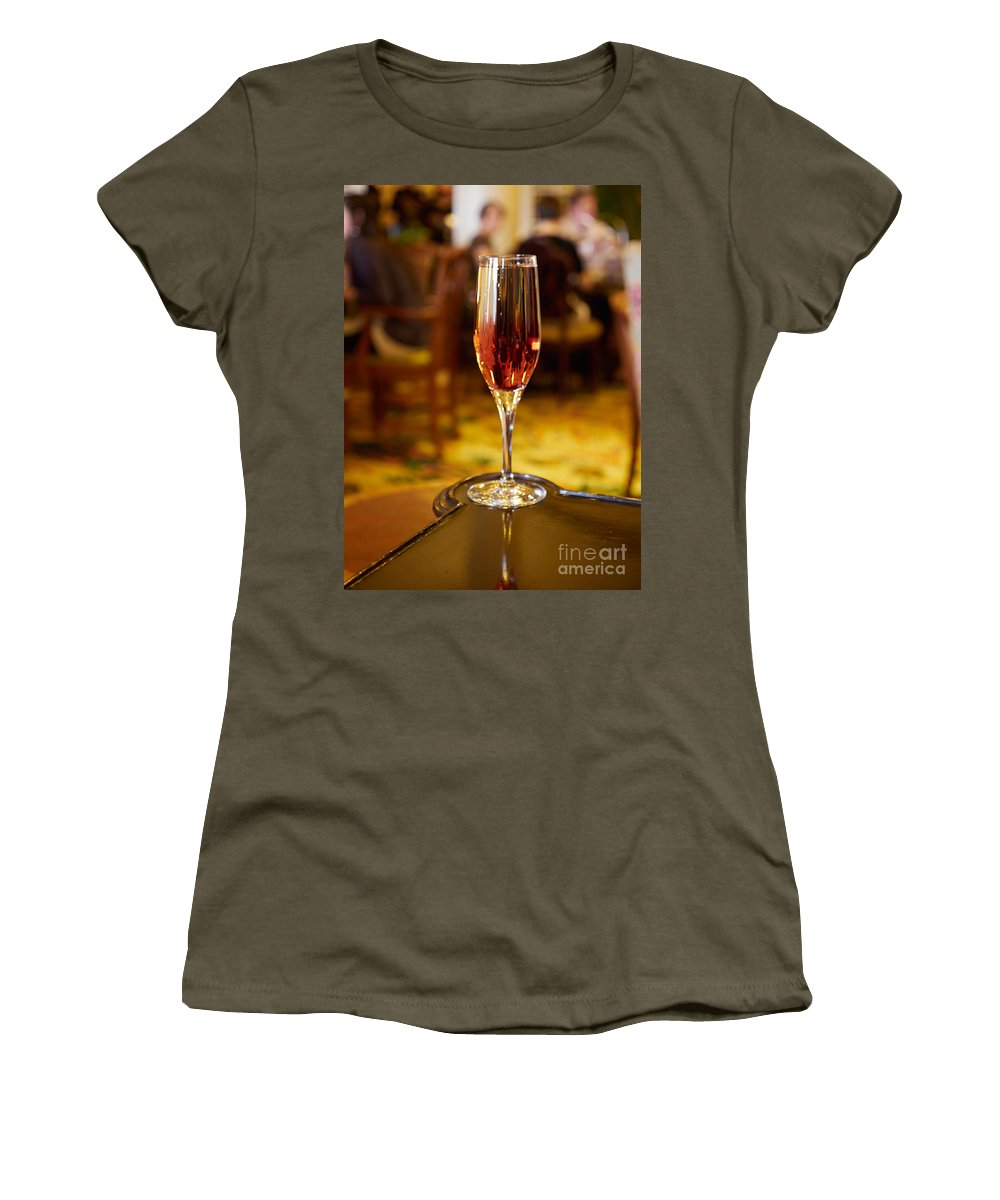 Kir Royale Women's T-Shirt featuring the photograph Kir Royale In A Champagne Glass by Louise Heusinkveld