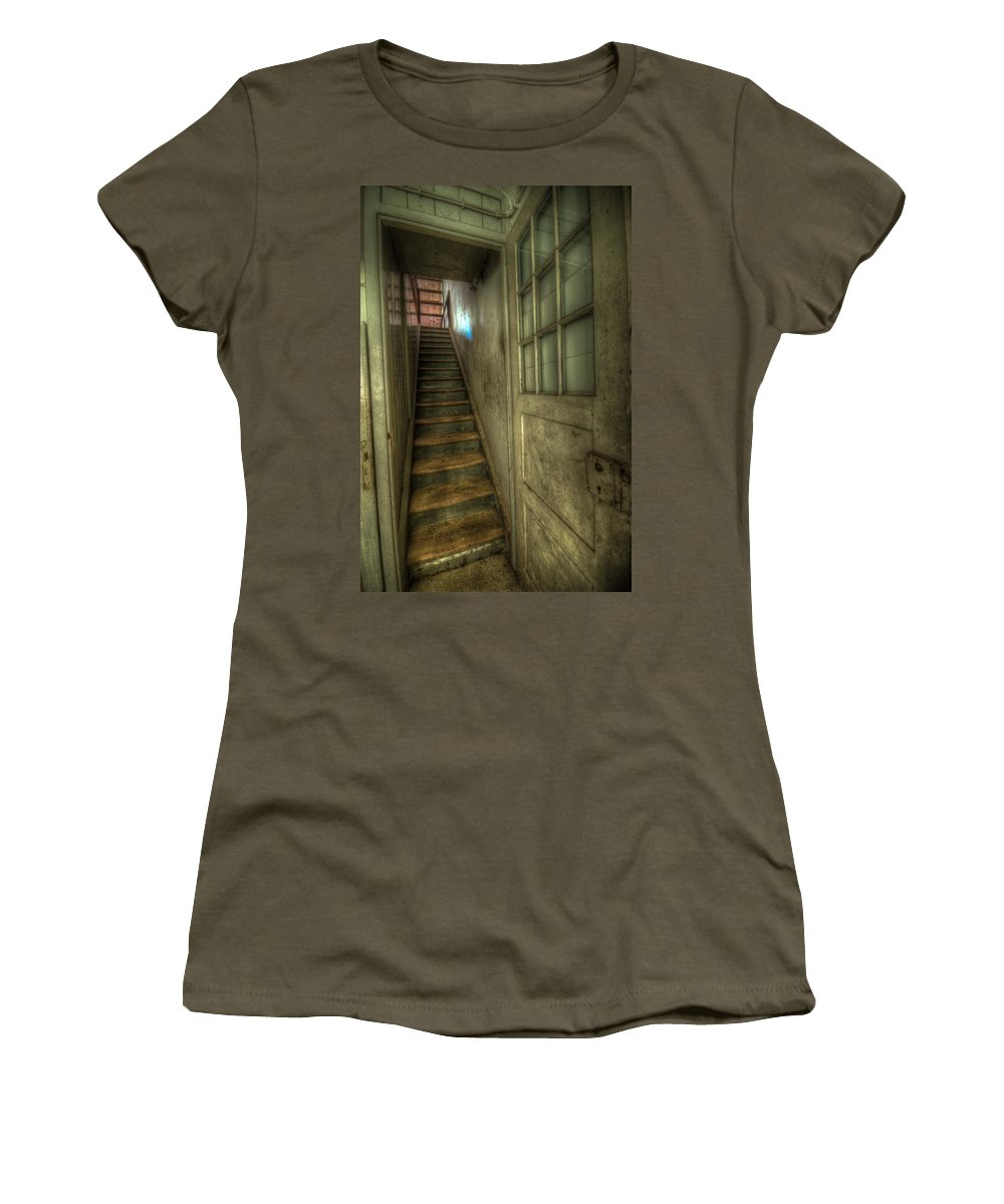 Urbex Women's T-Shirt (Athletic Fit) featuring the digital art Kitchen Door by Nathan Wright