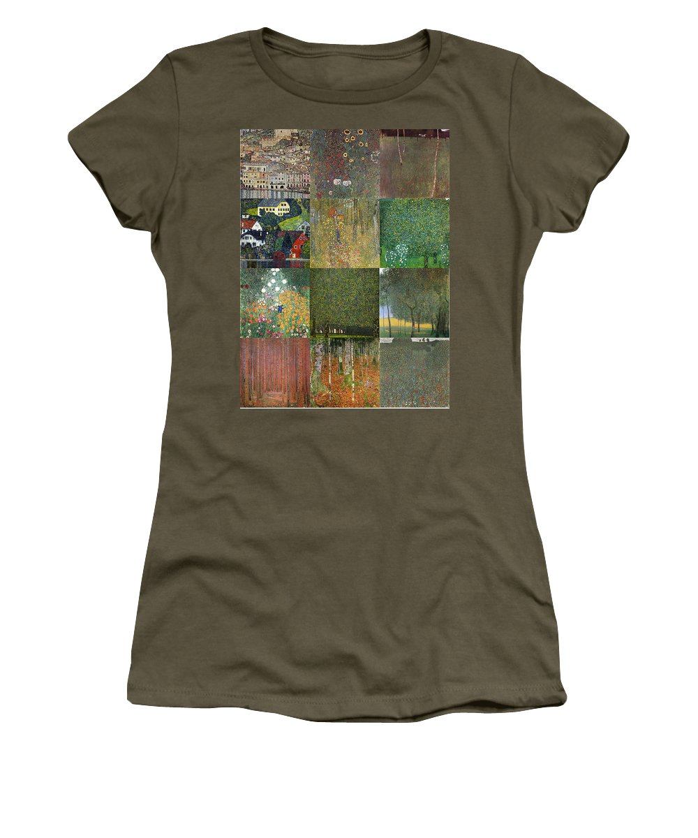 Klimt Women's T-Shirt featuring the painting Klimt Landscapes Collage by Philip Ralley