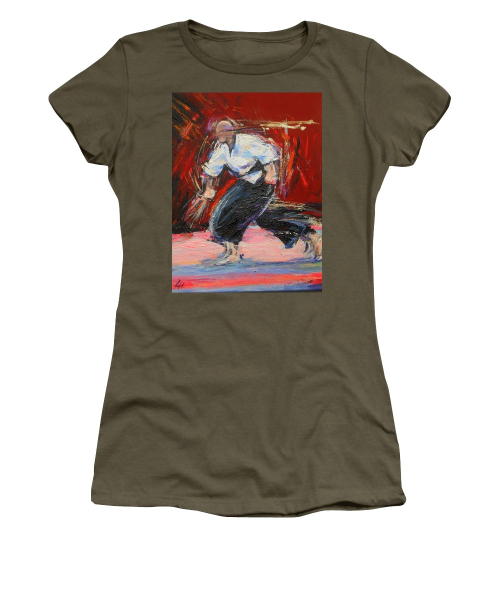 Karate Women's T-Shirt (Athletic Fit) featuring the painting Kobujutsu by Lucia Hoogervorst