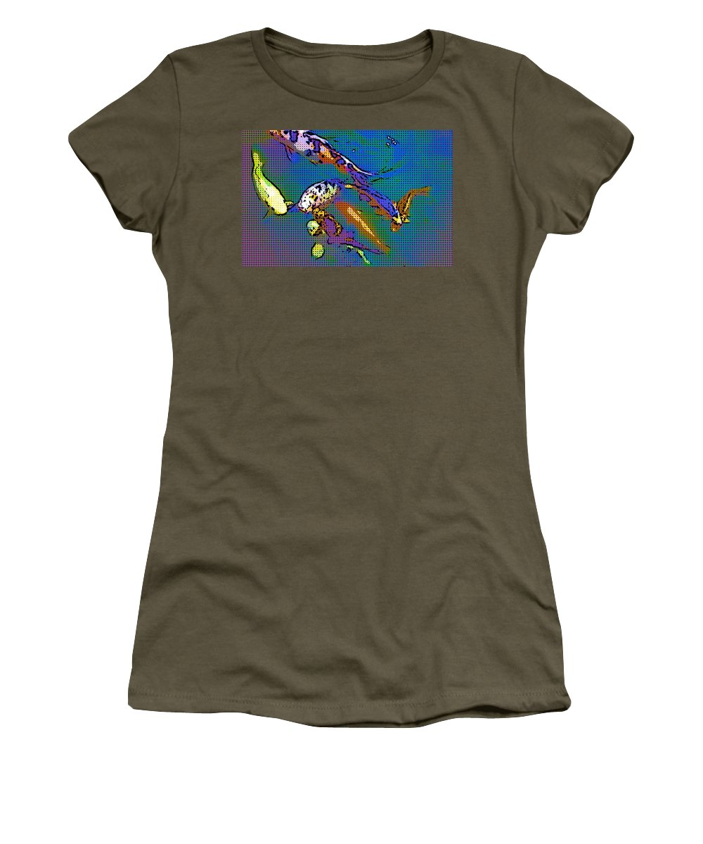 Animals Women's T-Shirt (Athletic Fit) featuring the photograph Koi 1b by Mauro Celotti