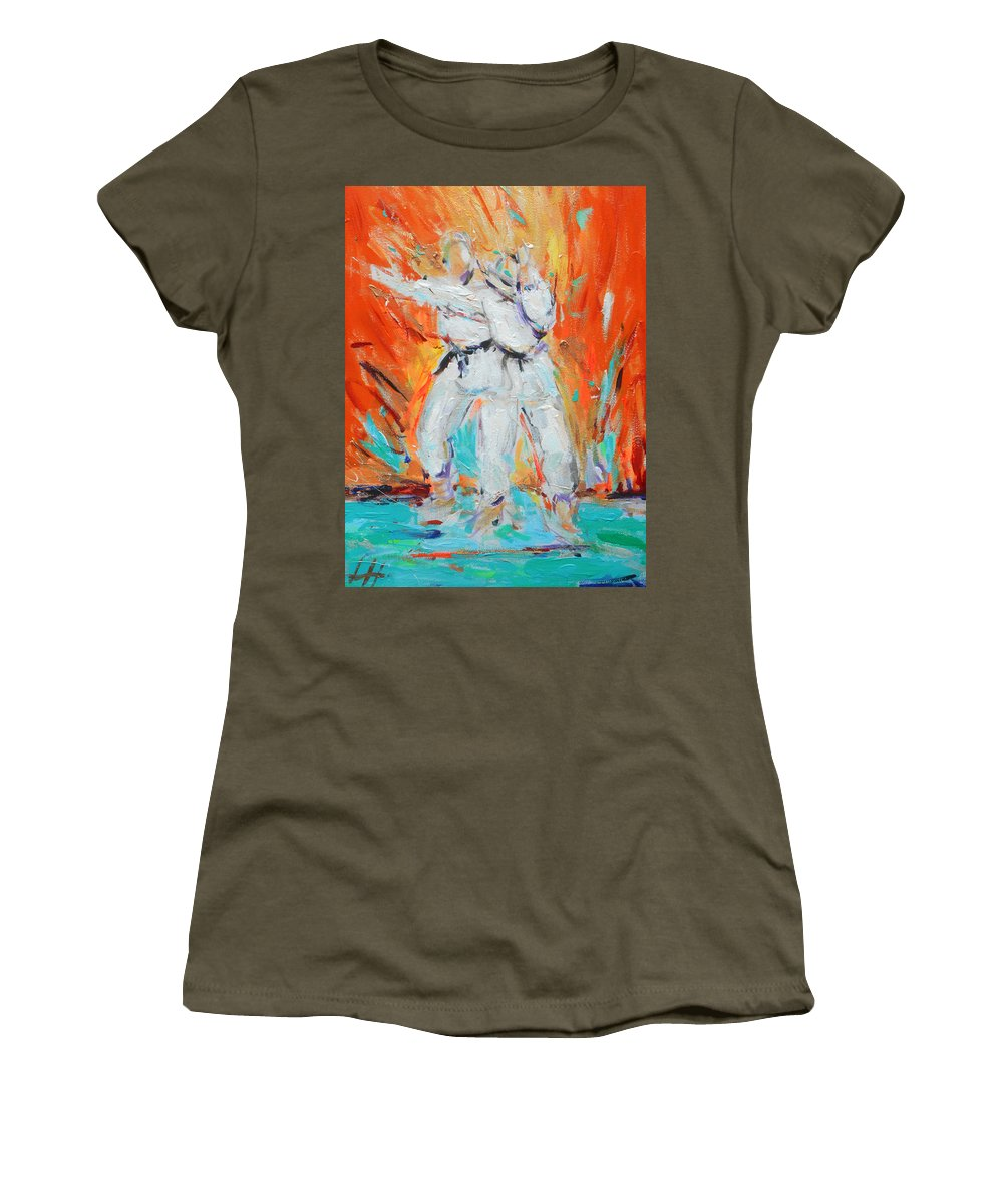 Karate Women's T-Shirt (Athletic Fit) featuring the painting Kumite Ni by Lucia Hoogervorst