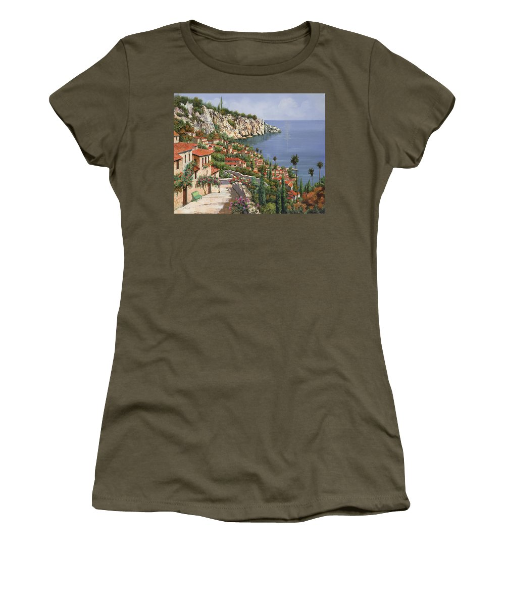 Seascape Women's T-Shirt (Athletic Fit) featuring the painting La Costa by Guido Borelli