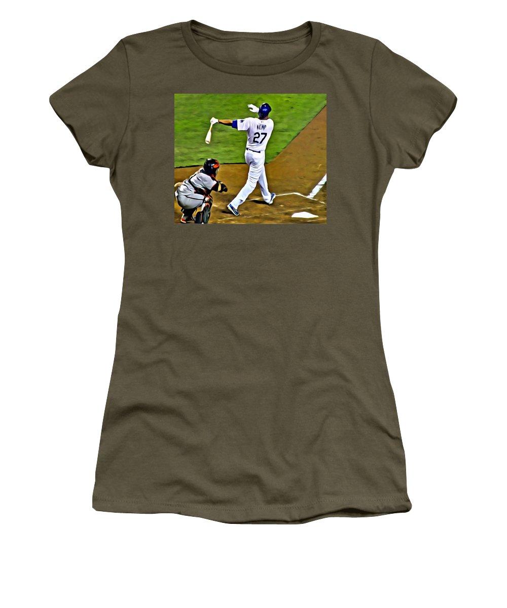 Mlb Women's T-Shirt featuring the painting La Dodgers Matt Kemp by Florian Rodarte