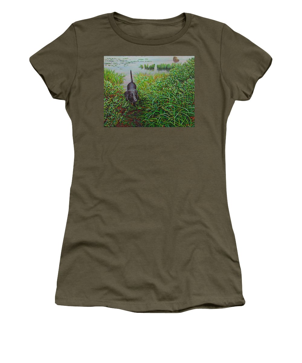Animals Women's T-Shirt featuring the painting Labrador by Kenneth Cobb